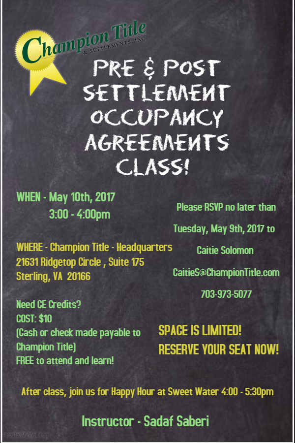 Pre Post Settlement Occupancy Agreements Class Champion Title