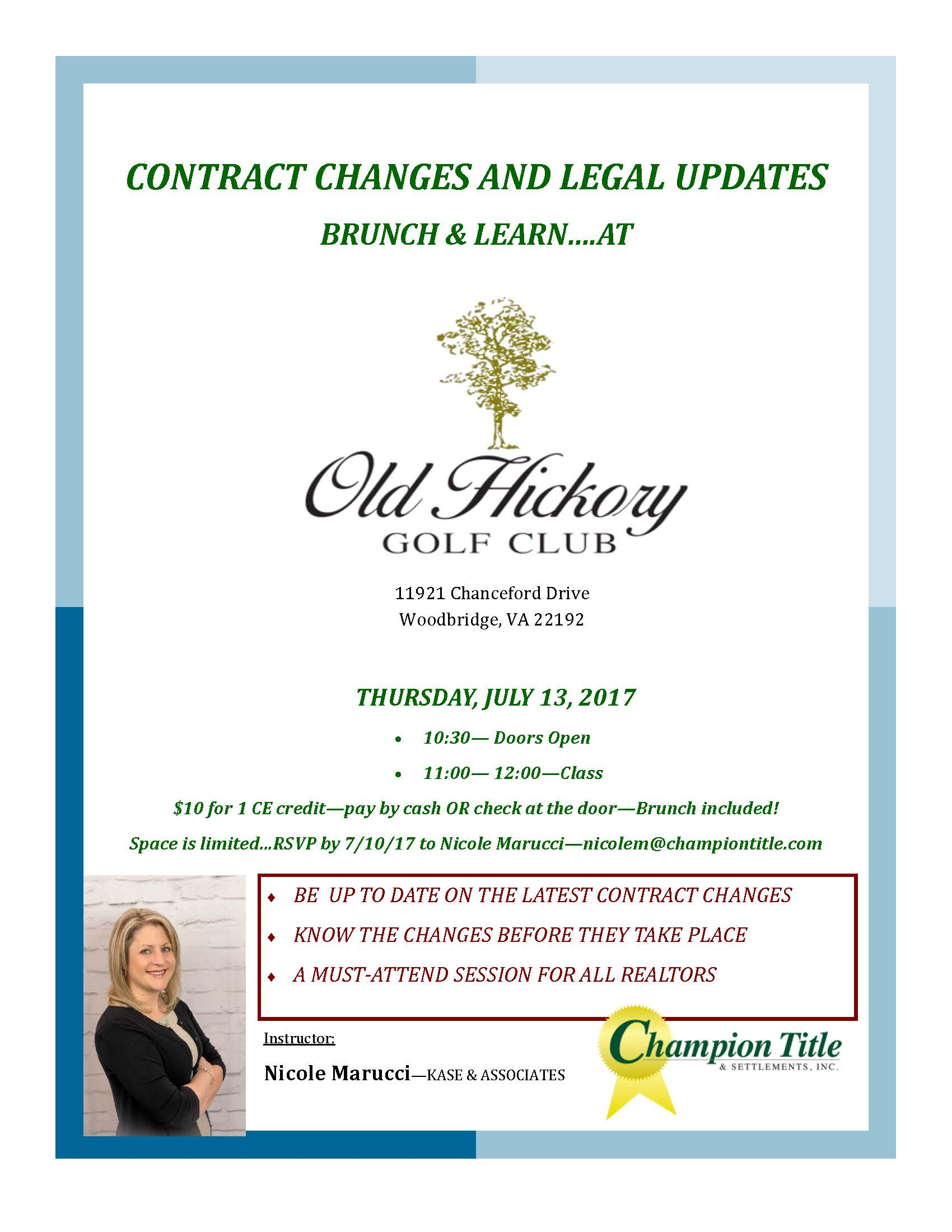 Brunch & Learn: Contract Changes and Legal Updates